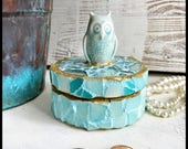 Owl decor, owl gift, trinket box, jewelry storage, mosaic decor, woodland gift, shabby gift, ring dish, garden gift, home gift