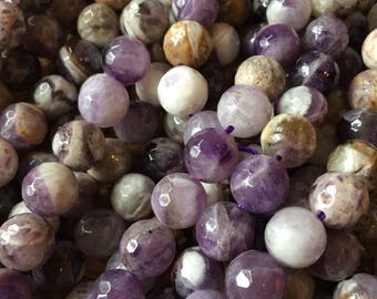 """Amethyst 10mm round bead, faceted,15.5"""" strand,~39 beads,shades of violet,lovely variation, purple beads, violet beads, Dogstooth amethyst"""