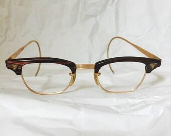Vintage Glasses Browline Combination Eyeglasses 12 Carat Gold Filled Horn Rimmed Over the Ears Arms