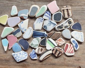 beach pottery, sea pottery , Scottish beach finds, sea glass pottery, Vintage pottery , china,terracotta, sea glass jewelry, (Lt142)