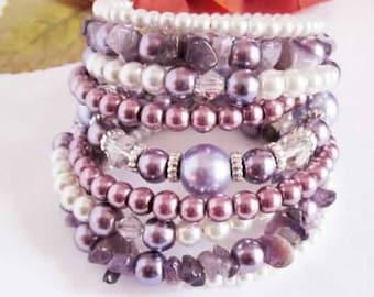 Pearl Wrap Bracelet Chunky Beaded Cuff Purple Plum Amethyst Lavender White Wedding Bracelet Bridal Jewelry Bridesmaid Gift Boho Chic Pearls