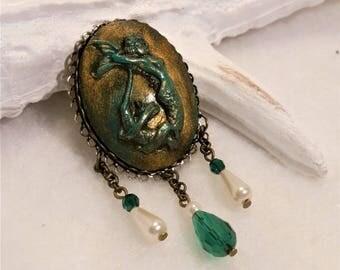 Bronze Mermaid brooch vintage teal