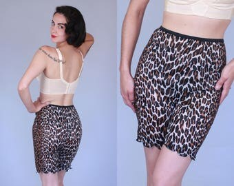 1960s Bastet lingerie shorts | vintage 60s leopard print high waisted nylon slip hot pants with zig zag hem | small / medium