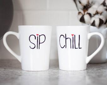 Set of 2 coffee cups - Custom coffee cup - Sip coffee cup - Housewarming gift - Cute coffee cups - Retirement gift - Handpainted coffee cup