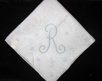 Handkerchief Monogrammed R Initial Letter Bridal Keepsake Madeira Handkerchief Embroidery Hankerchief Hankie Hanky