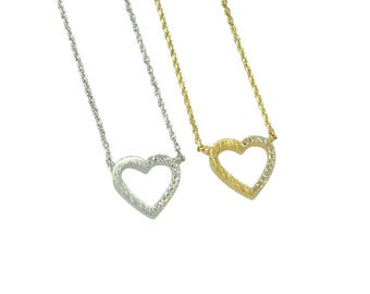 "Tiny Gold Silver ""True Love"" Heart Necklace - Dainty, Simple, Birthday Gift, Wedding Bridesmaid Gift"