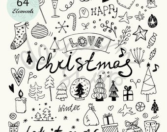 Hand Drawn Christmas Doodles/Vector Clip Art set/Pencil Drawing/EPS+PNG Files /Personal and Commercial Use/Digital Download/Xmas Symbols
