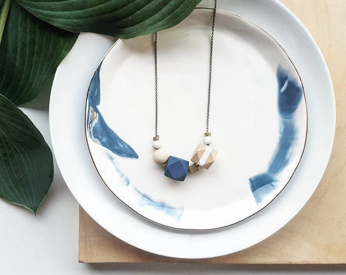 Featured listing image: Evie Necklace | Geometric beads | Blue & White