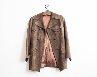Beige Suede Jacket 70s Vintage Slim Fit Leather Jacket Boho Size Small Summer Evening Jacket