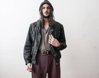 Punk Leather Jacket 80s Grunge Bomber Leather Jacket Autumn Outerwear Fall Season Veste En Cuir Noir