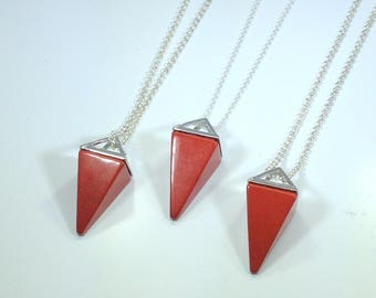 Red Jasper Necklace Triangle Necklace Red Jasper Pendulum Sterling Silver Necklace Stone Necklace Red Jasper Jewelry Geometric Jewelry