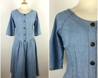 Vintage 1980s Denim Dress - 80s Blue Swing Dress - Rockabilly Style - Western Style - 80s does 50s - Large - UK 16 / US 12 / EU 44