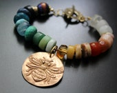 CUSTOM ORDER for Sydney - Multi gemstone knotted bracelet with a Green Girl Studios bee charm
