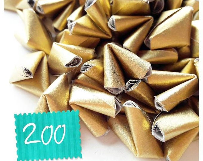 200 luxury metallic gold paper origami heart love quotes - wedding - simple decor - free delivery - wedding favour