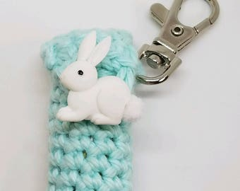 Mint Green Lip Balm Holder - Easter Chapstick Case - Bunny Rabbit Lip Balm Cozy Keyring - Gifts for Her - Easter Basket Treat
