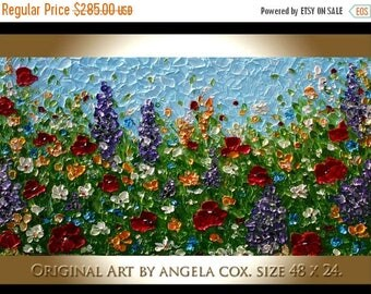 SALE Modern Floral    Multicolored  Flowers  Acrylic Impasto Palette Knife   wall Art  Painting. Made2Order. Size 48 x 24..