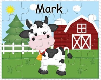 Cow Personalized Puzzle, Personalized Farm Puzzle, Personalized Kids Puzzle