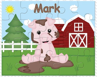 Pig Personalized Puzzle, Personalized Farm Puzzle, Personalized Kids Puzzle