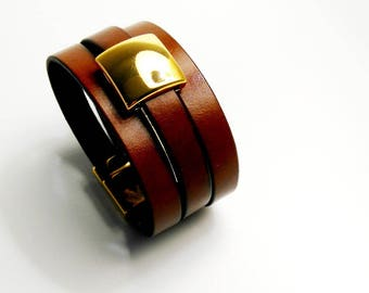 Gold magnetic clasp gold square whiskey leather cuff