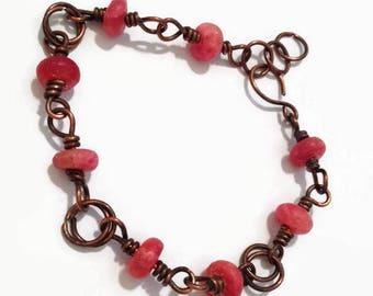 Rhodochrosite Copper Wire Wrap Bracelet/ Pink Wire Wrapped Bracelet in Copper/ Wire Wrap Jewelry/ Copper Bracelet
