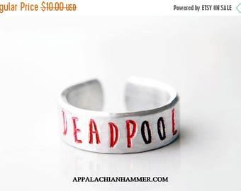 WEEKEND SALE Deadpool Hand Stamped Aluminum Adjustable Ring