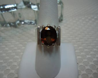 Oval Cut Champagne Topaz Ring in Sterling Silver   #1423