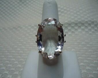 Oval Cut Rose de France Amethyst Ring in Sterling Silver  #2143