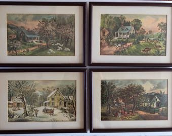 vintage set of four Currier & Ives Four Seasons American Homestead prints with frames