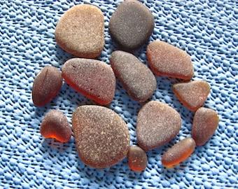A bakers dozen small and medium brown genuine sea glass  beach glass