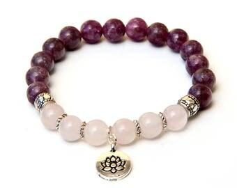 lepidolite bracelet, healing bracelet, pink bracelet, gemstone bracelet, rose quartz bracelet, beaded bracelet, crystal bracelet, bracelet