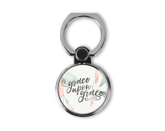 Grace upon grace - Christian gift - Quote from bible - Ring Stand phone finger holder - Cell kickstand - Universal finger grip for co-worker