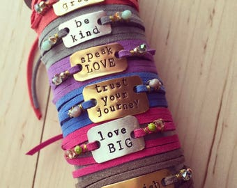 PERSONALIZED Leather Adjustable Wrap Bracelet / Personalized Jewelry / Graduation Gift / Birthday Gift / Wrap Bracelet / Made by Me