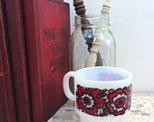 SUMMER SALE Cool Retro White Milk Glass Mug With Red and Black Flower