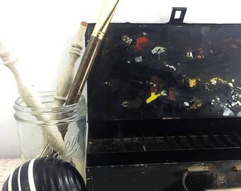 SUMMER SALE Vintage Metal Bank Box
