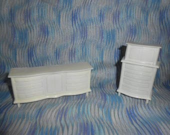 MP Brand Doll House Furniture-White Dresser and Chest