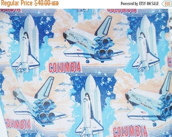 ON SALE Vintage, Space Shuttle Columbia NASA Astronaut, Sears, Curtains, Drapery, Fabric, 1980's, A Pair, Blue, Red, Brown, Window Treatment