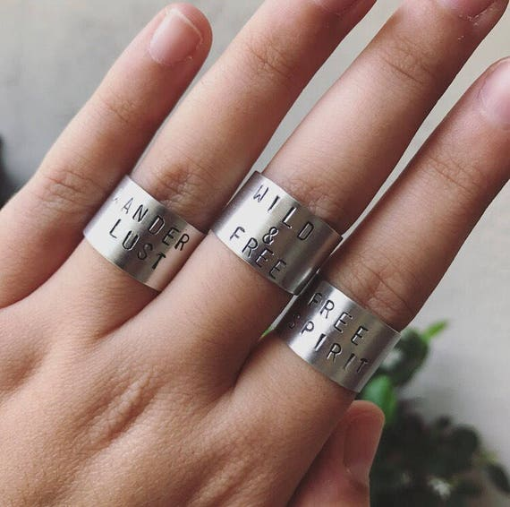 Wanderlust, Free Spirit, Wild & Free, Good Vibes Only, CUSTOM TEXT AVAILABLE Handstamped Ring