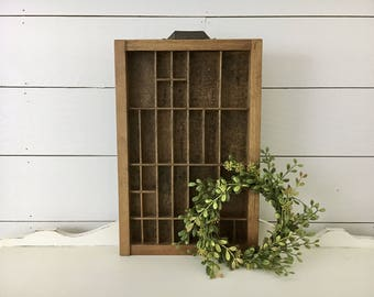 Vintage Letterpress Tray . Antique Printers Tray . Wood Wooden Box . Shadow Box .Crate . Vintage Advertising . Farmhouse Decor . Fixer Upper