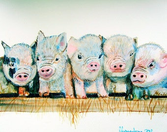 Pig signed print Micro Pigs Print picture of  Watercolour and Ink Painting on Watercolour Paper