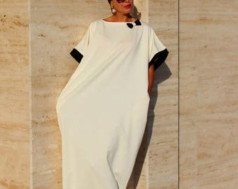 SALE ON 20 % OFF Black and Off white Abaya, Maxi dress, Caftan, Plus size dress, Elegant Dress, Party dress