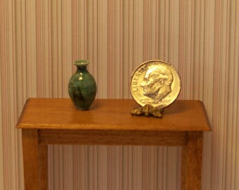 Dollhouse miniature wheel thrown raku fired vase