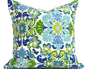 Pillow Covers ANY SIZE Decorative Pillow Cover Blue Pillow Waverly Damask Seaspray