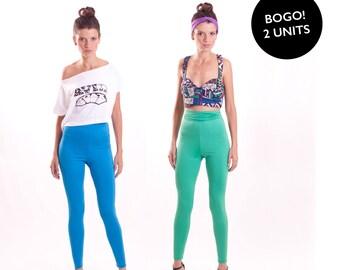 Yoga Pants Duo Basic High Waisted Leggings Blue and Green Gym Wear BOGO SALE