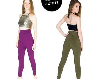 XMAS IN JULY Spandex Yoga Pants Set of 2 Full Length High Waist Leggings Size Xl Plum and Olive  Bogo Sale