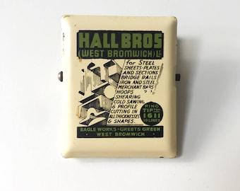 Vintage Industrial Advertising Hall Bros West Bromwich Steel Merchants Heavy Duty Bulldog Clip