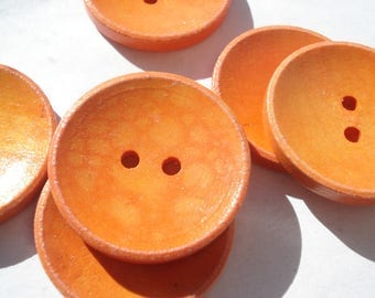 30mm Wood Sewing Buttons, 2-Hole Orange Wooden Buttons, Pack of 6 Orange Buttons, W3091