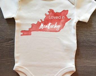 Loved in Kentucky, Baby, Boy, Girl, Unisex, Infant, Toddler, Newborn, Organic, Bodysuit, Outfit, One Piece, Clothes, Layette, Creeper