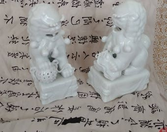 Pair Of Chinese White Ceramic Foo Dogs 7 1/2 inTall x 3inWide Mint Statues