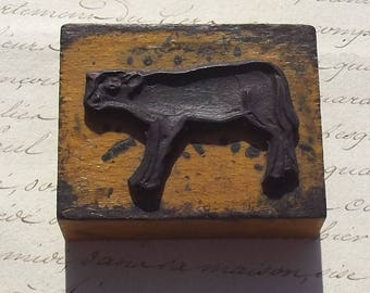 Vintage French 1950s stamp wood  rubber illustrators printing block Calf Cow