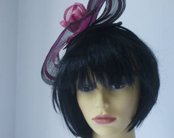 Black Fascinator with Pink highlights for races and weddings